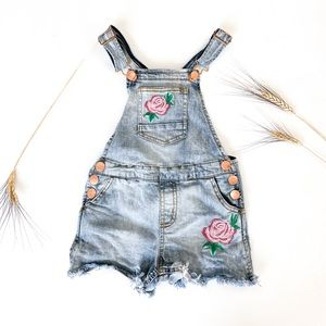 5Y Fringed Embroidered Denim Overalls